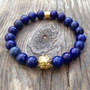 pulsera de hombre ronda baño oro lapislázuli