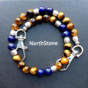 Colgante de llaves piedras semipreciosas ojo de tigre lapislázuli