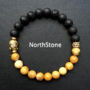 pulsera hombre northstone buda baño oro bicolor lava jaspe