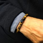 PULSERAS HOMBRE SWAROVSKI METALLIC BLUE OJO DE TIGRE