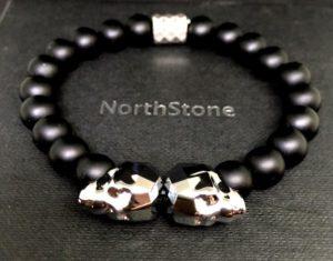 pulseras para hombre NorthStone Swarovski grey skull