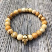 pulseras hombre northstone metallic skull oro jaspe