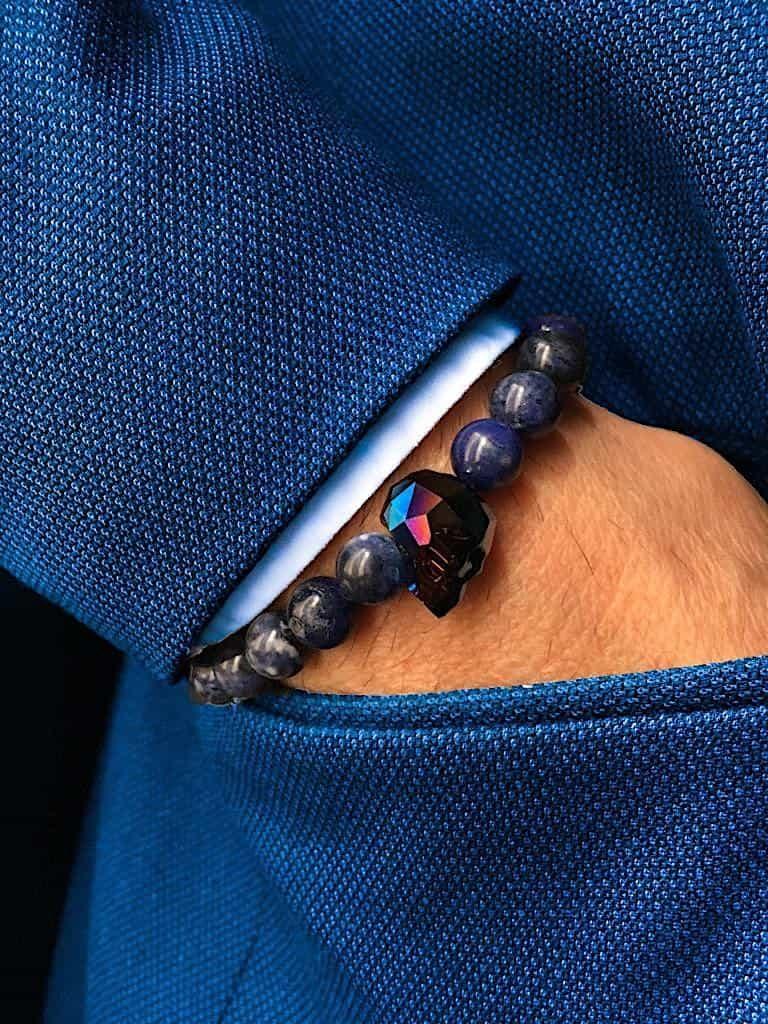 PULSERA SKULL SWAROVSKI BLUE