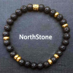 PULSERA HOMBRE NORTHSTONE LAVASTONE GOLD